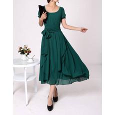 Chiffon Short Sleeves Tea Length Mother of the Bride/ Groom Dresses