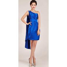 Affordable One Shoulder Short Sheath Satin Homecoming Dresses