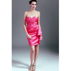 Short Sweetheart Satin Column/ Sheath Junior Homecoming Dresses