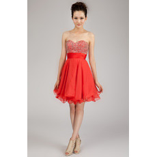 Discount A-Line Sweetheart Short Chiffon Beaded Homecoming Dresses