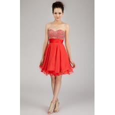 Discount A-Line Sweetheart Short Chiffon Beaded Homecoming Dresses