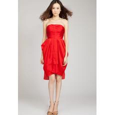 Custom Elegant Column Strapless Short Taffeta Homecoming Dresses