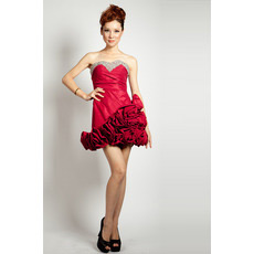 Sexy Short Sweetheart A-Line Satin Junior Homecoming Dresses