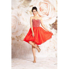 Custom A-Line Sweetheart Short Taffeta Beaded Homecoming Dresses