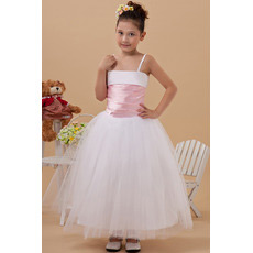 Affordable Ball Gown Spaghetti Straps Tulle First Communion Dresses