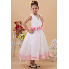 Discount Lovely Tea Length Organza V-Neck Flower Girl Dresses