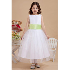 Affordable Tea Length Tulle First Communion Dresses with Sashes