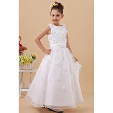 New Style Applique Ankle Length Satin First Communion Dresses