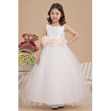 Custom Ball Gown Satin First Communion Dresses with 3D Flowers