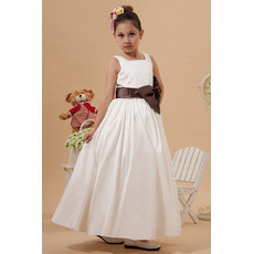 Simple Taffeta Ankle Length First Communion Dresses with Sashes
