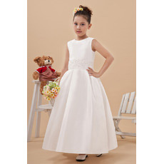 Custom Taffeta Ankle Length Ball Gown First Communion Dresses