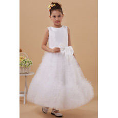 Stunning Ruffle Ankle Length Satin A-Line First Communion Dresses
