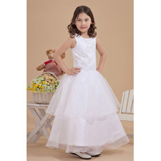 Layered Skirt Ball Gown Satin Ankle Length First Communion Dresses