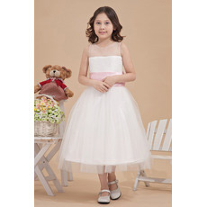 Affordable Tea Length Satin Tulle First Communion Dresses with Sashes