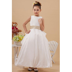 Luxurious Tiered Skirt Taffeta Ball Gown First Communion Dresses