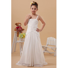Custom Chiffon Sweep Train Sheath/ Column First Communion Dresses