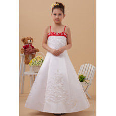 Discount Colored A-Line Spaghetti Straps Satin First Communion Dresses