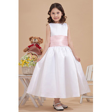 Simple Satin Tea Length Ball Gown First Communion Dresses with Sashes
