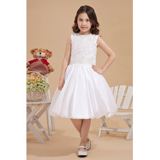 Custom Beaded Knee Length Taffeta A-Line First Communion Dresses