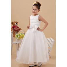 Inexpensive Pleated Ball Gown Satin Organza First Communion Dresses