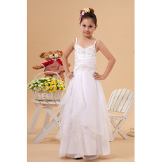 Gorgeous A-Line Spaghetti Straps Satin Organza First Communion Dresses
