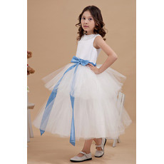 Custom Ball Gown Tiered Tulle Satin First Communion Dresses with Sashes