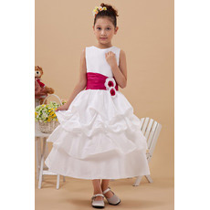 Cute Layered Skirt A-Line Tea Length Satin First Communion Dresses