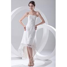 Sexy Strapless High-Low Asymmetric Summer Beach Wedding Dresses