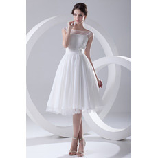 Custom A-Line Knee Length Chiffon Short Reception Wedding Dresses