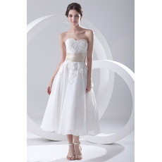 Discount Tea Length Sweetheart Chiffon Short Reception Wedding Dresses
