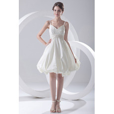 Inexpensive Sexy Spaghetti Straps Taffeta Short Beach Wedding Dresses