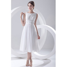 Elegant Chiffon Tea Length Short Reception Wedding Dresses for Summer