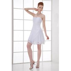 Inexpensive Custom Chiffon Sweetheart Short Beach Wedding Dresses