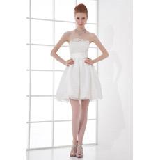 Affordable Casual A-Line Strapless Taffeta Short Beach Wedding Dresses