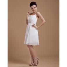 Custom Chiffon Knee Length Spaghetti Straps Short Beach Wedding Dresses