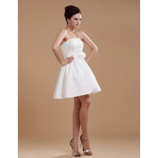 Affordable Custom Lace Strapless A-Line Short Beach Wedding Dresses