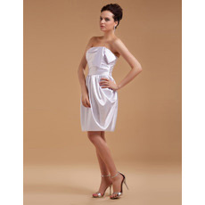 Custom Column Strapless Satin Short Beach Wedding Dresses for Summer