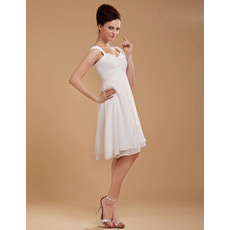 Inexpensive Custom Chiffon Empire Short Beach Wedding Dresses