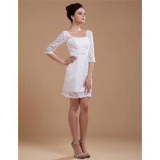 Affordable Casual Lace Short Beach Wedding Dresses with Sleeves