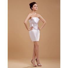 Discount Custom Sheath Strapless Satin Short Beach Wedding Dresses