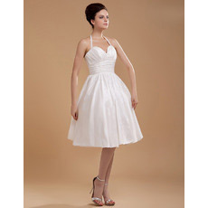 Custom Halter Taffeta Knee Length Short Beach Wedding Dresses for Summer