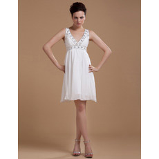 Affordable Custom Empire Chiffon V-Neck Short Beach Wedding Dresses