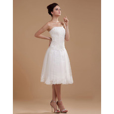 Discount Casual A-Line Strapless Lace Short Reception Wedding Dresses