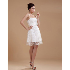 Custom Lace Empire Strapless Short Beach Wedding Dresses for Summer