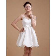 Inexpensive Custom A-Line V-Neck Satin Short Beach Wedding Dresses