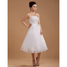 Affordable Casual A-Line Strapless Short Reception Wedding Dresses