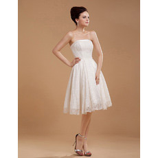 Custom Lace A-Line Strapless Short Reception Wedding Dresses for Summer