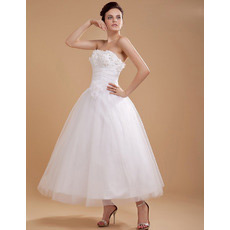 Affordable Custom Tea Length Strapless Short Reception Wedding Dresses