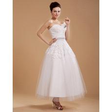 Discount Casual Tea Length Lace Short Reception Wedding Dresses