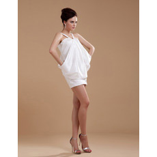 Casual Column Taffeta V-Neck Short Beach Wedding Dresses for Summer